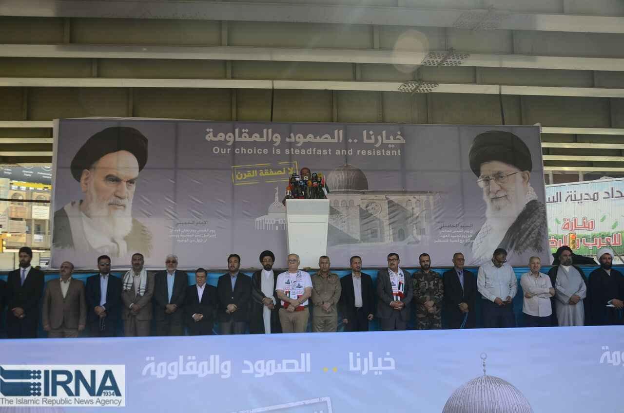 راهپیمایان قدس در عراق، فشارهای اقتصادی و تهدیدات علیه ایران را محکوم کردند